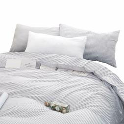 Wake In Cloud - Gray White Striped Comforter Set, Grey White