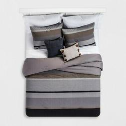 Unbranded Grey and Brown Color Block Stripe Cotton Comforter
