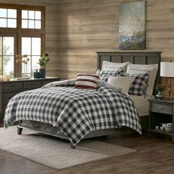 Grey Plaid & Checkered Pattern Reversible Cotton Comforter S