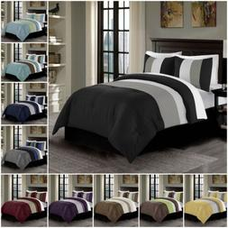 Chezmoi Collection Harper 3-Piece Luxury Striped Pleated Bed