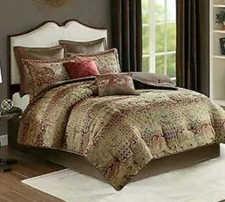 MADISON PARK HICKORY 8 PC CHENILLE JACQUARD COMFORTER SET KI