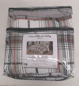 Eddie Bauer Home King 5 - Piece Plaid Gray And Red Comforter