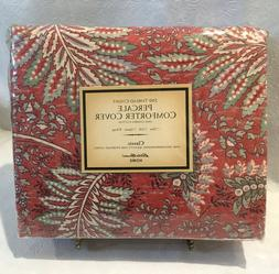 Eddie Bauer Home Percale Comforter Cover Red Tropical Floral