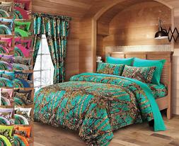 KING SIZE TEAL CAMO COMFORTER WITH CURTAINS!!  6 PC CURTAINS