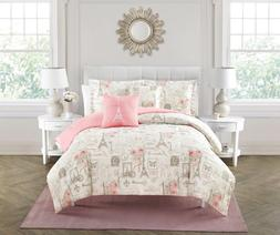 King or Queen Size Comforter Set Bedding Pink Ivory Taupe Pa