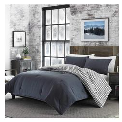 Eddie Bauer Kingston Charcoal Gray Flannel 3pc Comforter Pla