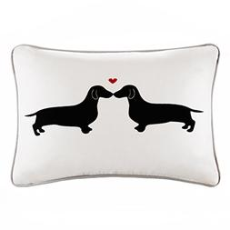 L'amour Kissing Dog Appliqued Cotton Lumbar Pillow