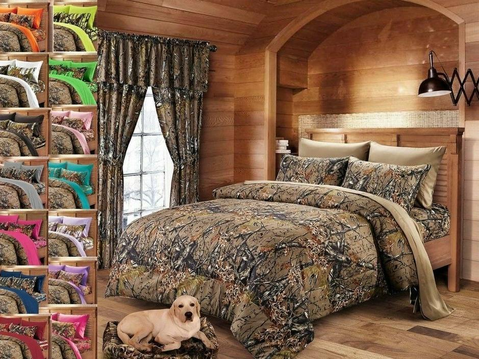 FULL SIZE BROWN CAMO 1 PC COMFORTER BED SPREAD ONLY CAMOUFLA