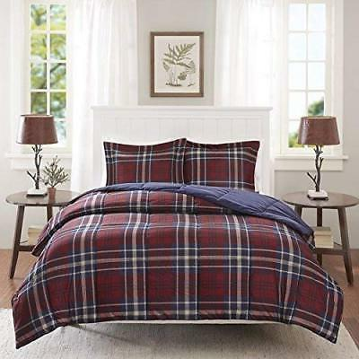 2 Piece Blue Red White Plaid Comforter Twin XL Set Patchwork