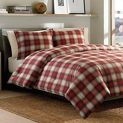 3 Piece Red Plaid Comforter Full Queen Set Stylish Checkered