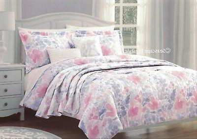 5 pc floral unicorns twin comforter set