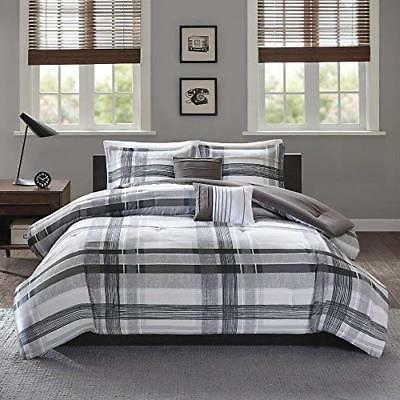 TL 5 Piece Black Grey Plaid Checkered Comforter Set Full Que