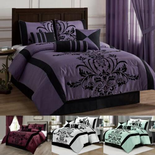 7 piece flocked floral faux silk comforter