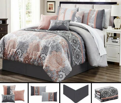 7 piece gray soft peach embroidery comforter