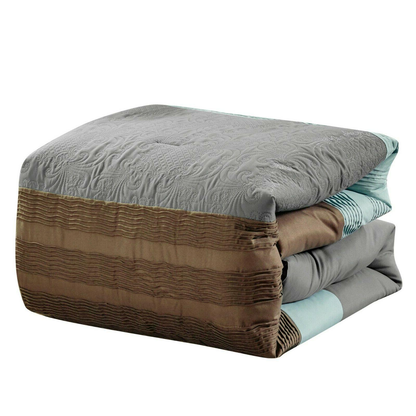 7 Piece Marinko Embossed and Pleated Set Bed-In-A-Bag