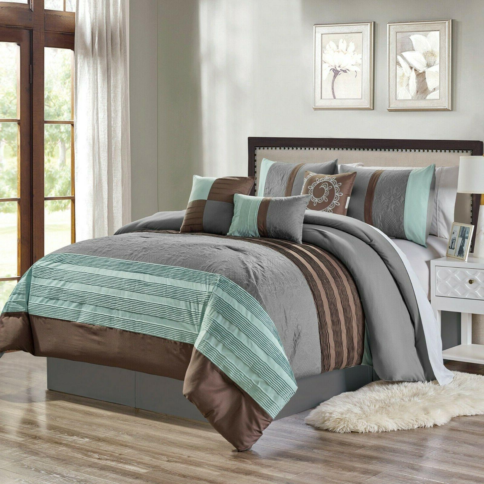 7 piece marinko embroidery and pleated comforter