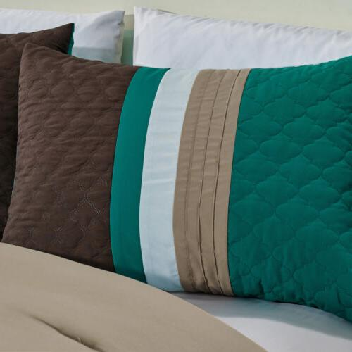 Clearance Sale Chezmoi 7-Piece Pleated Comforter Teal/Brown