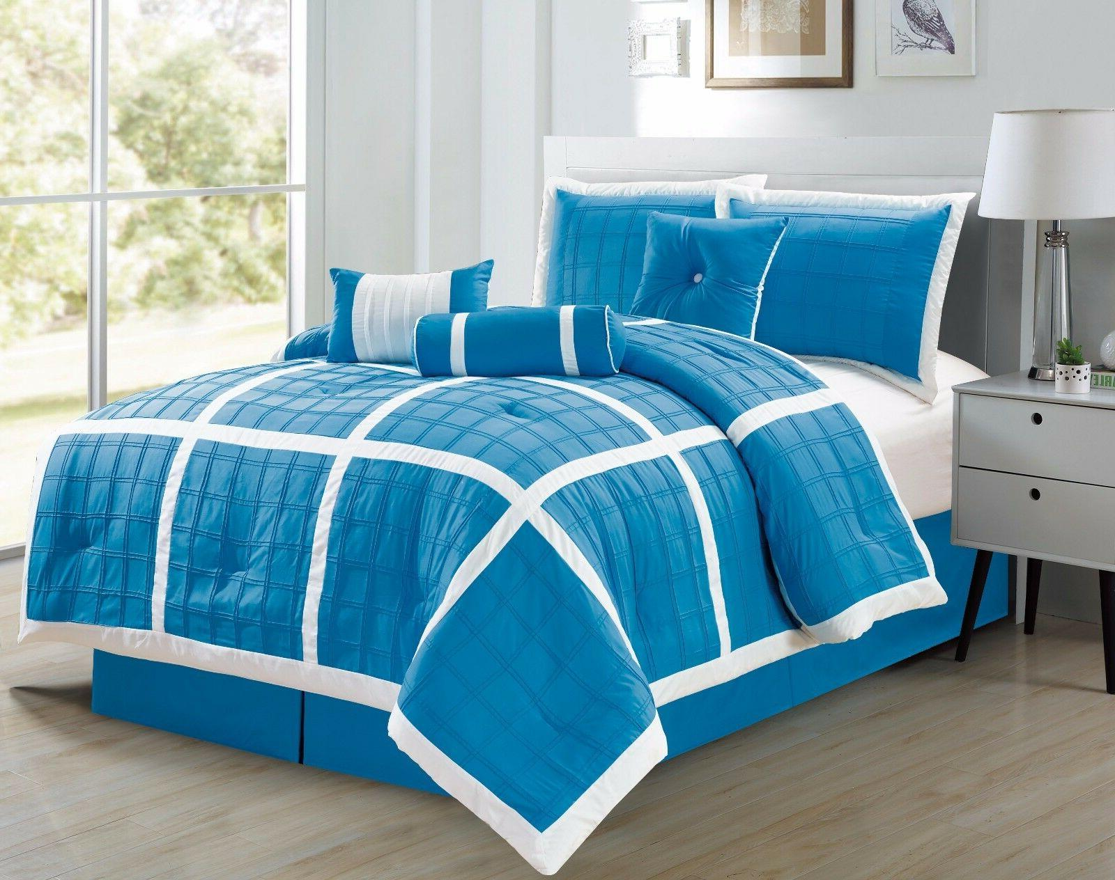 7pc microfiber aqua and white checkered stitched