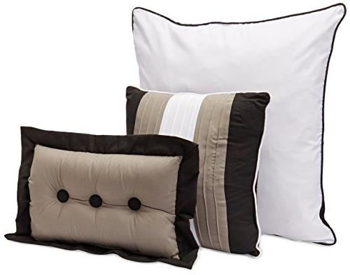 Chezmoi Collection 6-Piece Stripe Bed-in-a-Bag Black/White/Grey, Twin