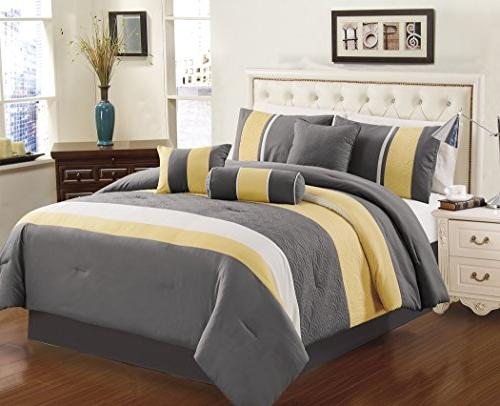 yellow gray white quilted comforter