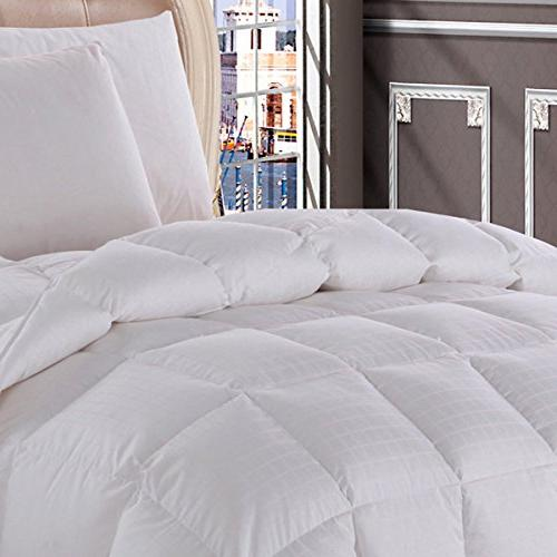 Royal Hotel California Size Dobby White goose Down-Comforter 650-Fill-Power 100 % Cotton Shell 300TC -Luxury Insert 40 oz. fill by Wholesalebeddings