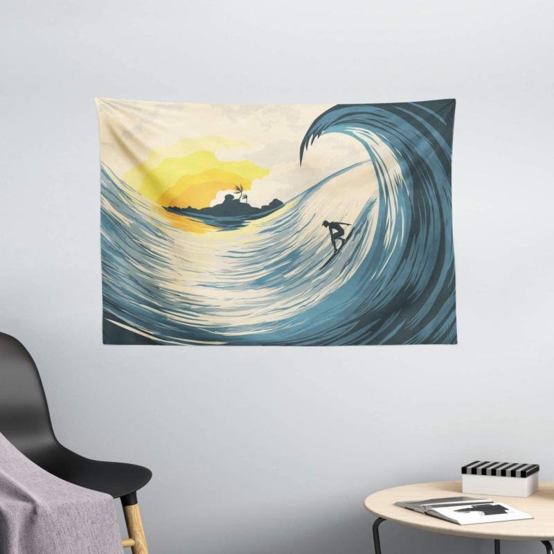 ambesonne ocean tapestry illustration of cloudy sky