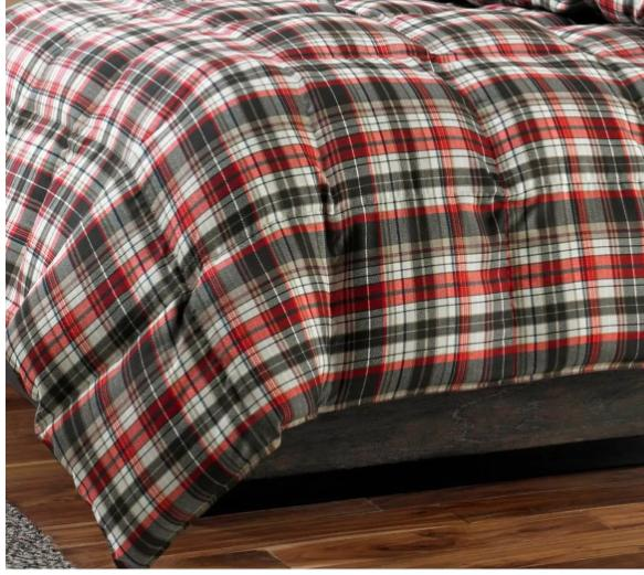 Eddie Red White 3pc Reversible Plaid King