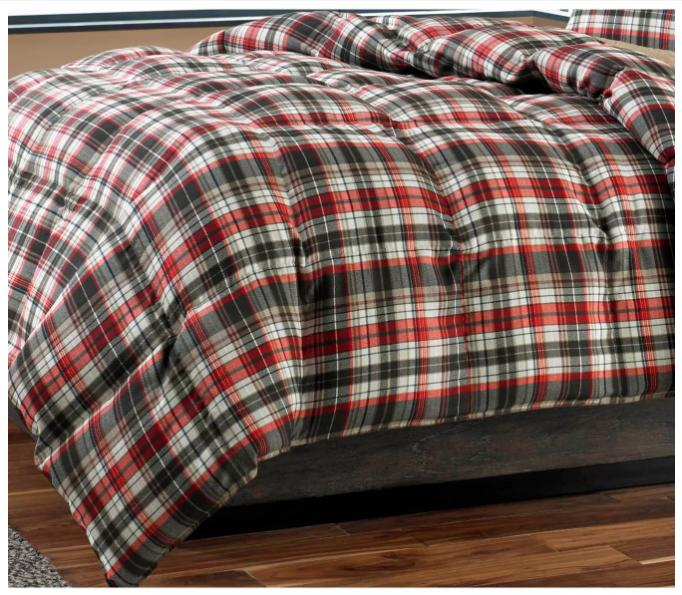 Eddie Red 3pc Reversible Plaid Comforter