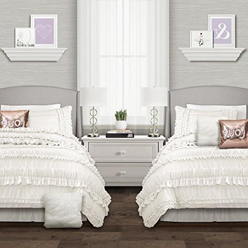 Lush Decor Piece Ruffled with Bed and Pillow Twin White