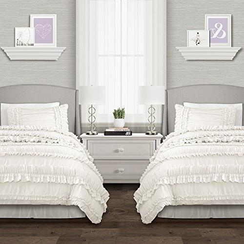 Lush Belle 3 Piece Ruffled Set with Pillow Sham, White