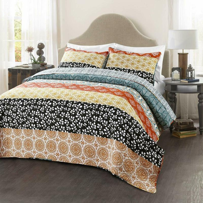 Lush Striped Quilt Reversible 3 Colorful