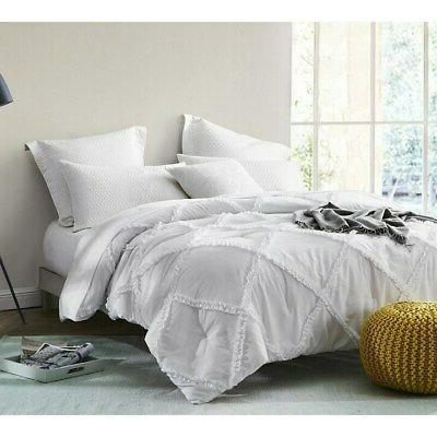 byb white gathered ruffles handcrafted series comforter