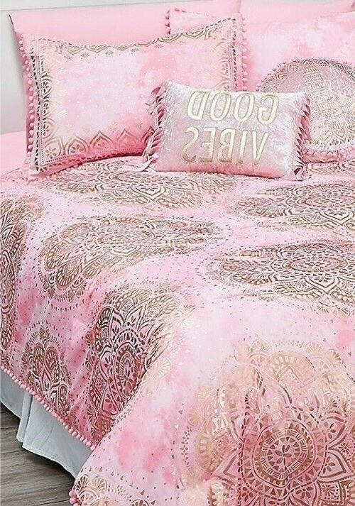 Justice Girls Comforter Set Pink Medallion Queen Size 7-piec