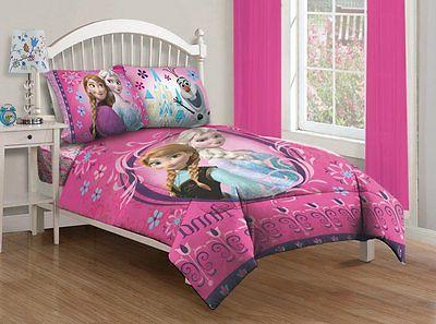 Disney Frozen Full Size Comforter Set with Fitted Sheet Pink