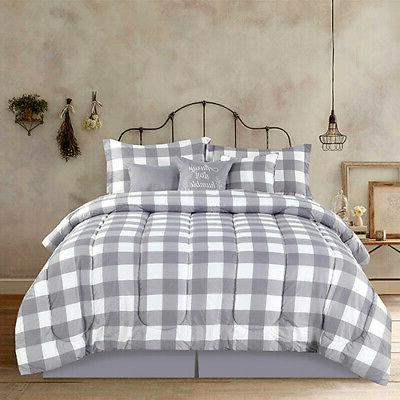 Full Queen King Bed Gray Grey White Buffalo Checked Plaid 7