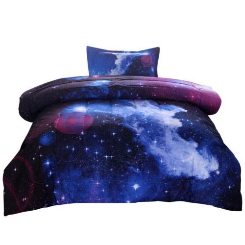 Galaxy Comforter Reversible Quilt Sky Space Bedding Twin/Full