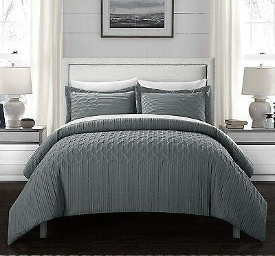 jazmine embossed embroidered quilted comforter set 3pc