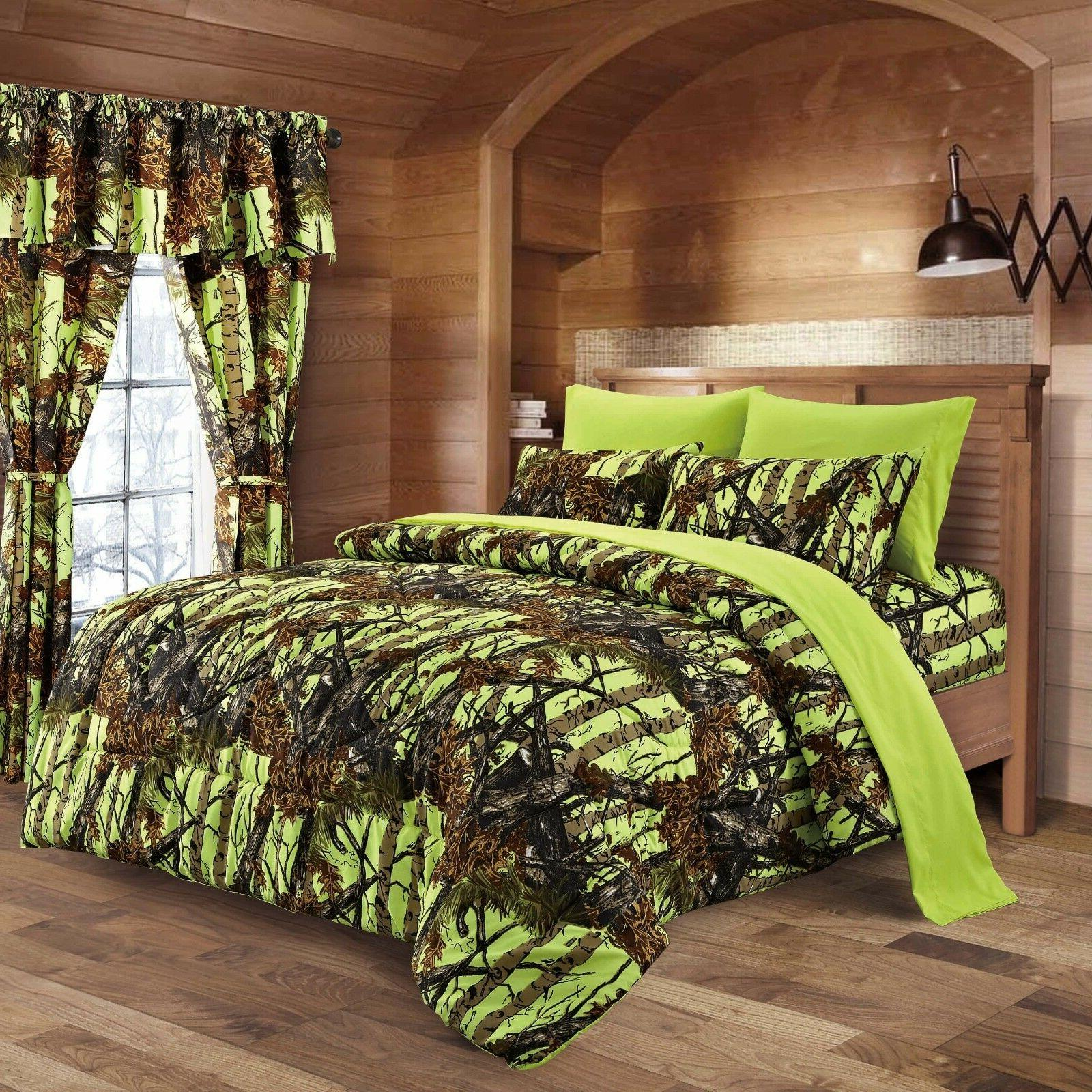 KING SIZE LIME CAMO BEDDING 1 PC COMFORTER ONLY SPREAD GREEN
