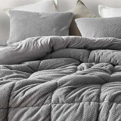 King Gray Silky Ultra Faux Fur Bed Comforter