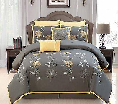 Luxurious 8 PCS Embroidery Bed In A Bag Queen Size Yellow/Gr