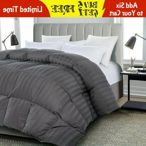 Luxury soft stripe Goose Down Alternative Comforter Twin Que