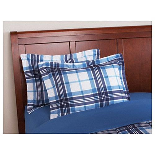 6 Piece Navy Plaid Comforter Set With Blue Gingham Lumberjack Pattern, Reversible Adult Polyester