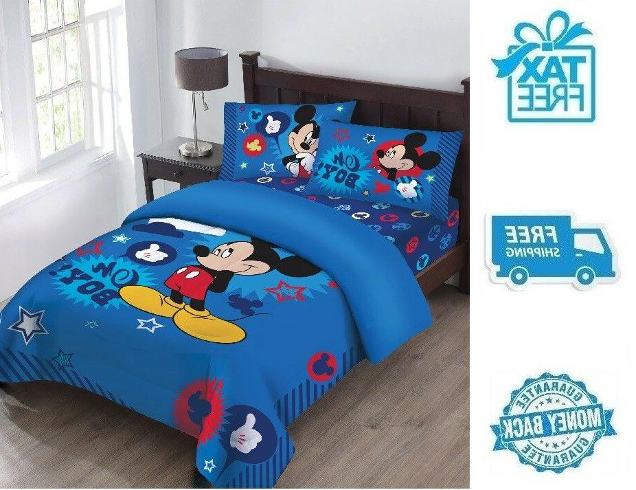 New Full Disney Mickey Mouse Comforter Fitted Sheet Pillowca