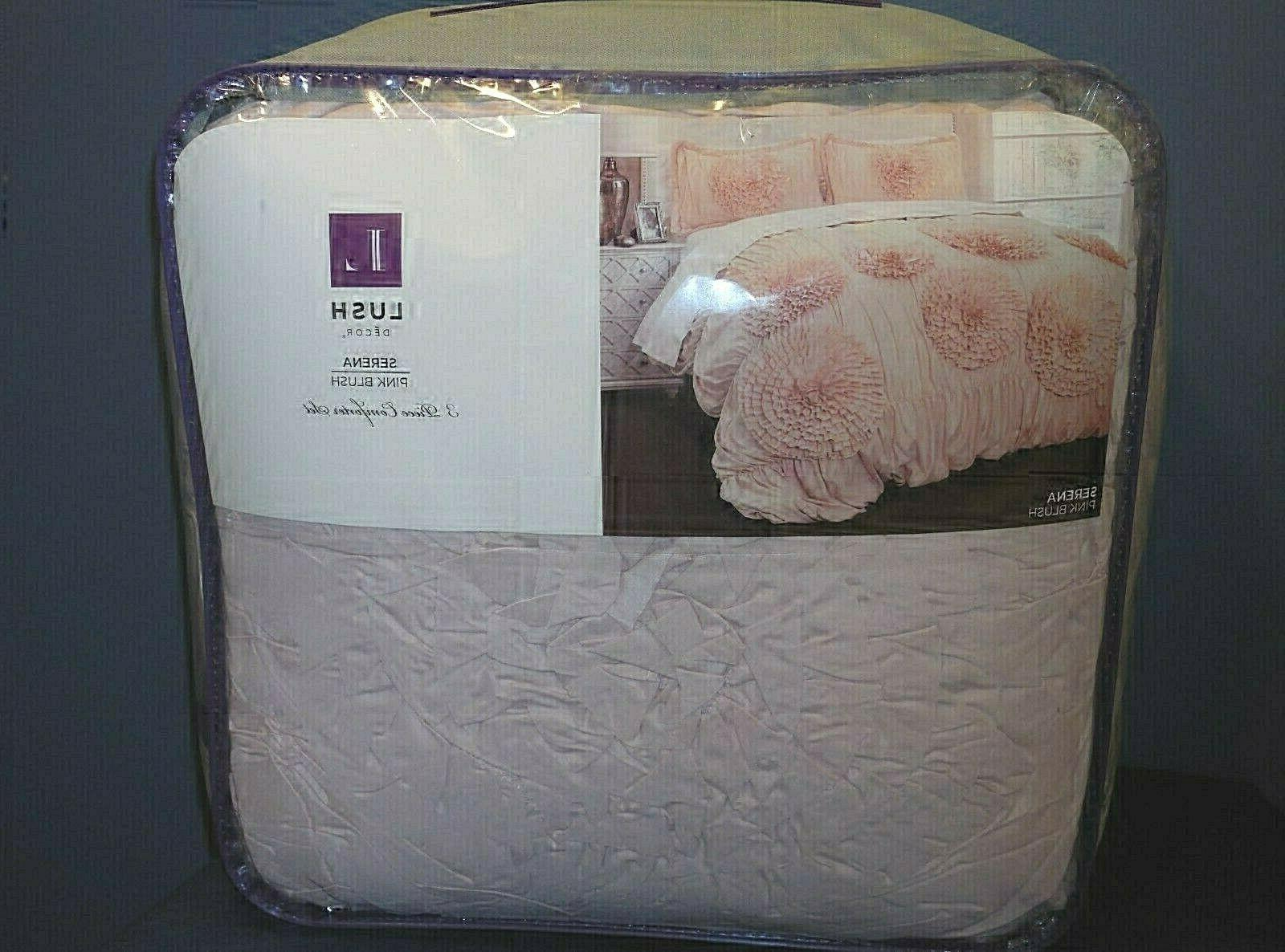 NEW Comforter 2 Blush Ruched Flowers 3 Piece