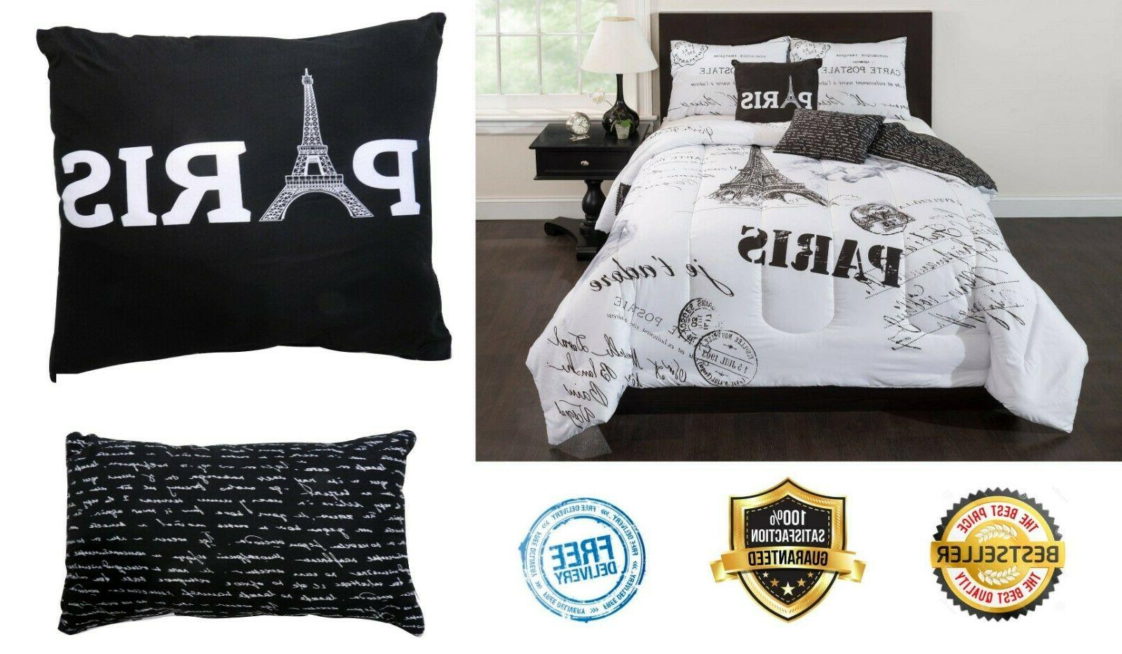 Paris Bedding Comforter Set Queen Size Sham Pillows Bed In A