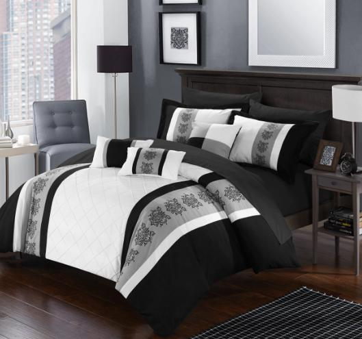 Queen or King Size Comforter Set Black White 10