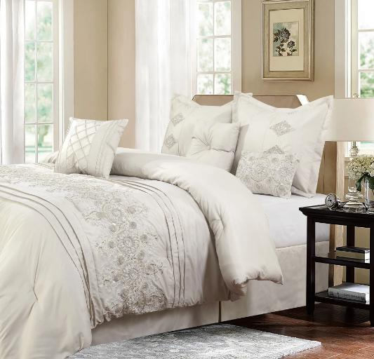 Queen or King Size Comforter Set Ivory Bedding Elegant Embro