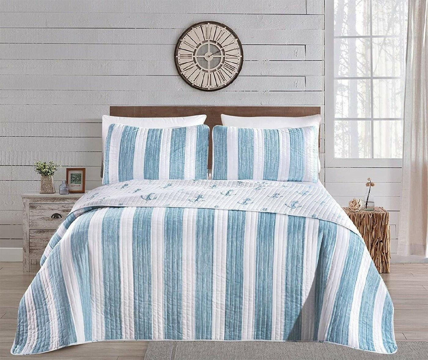 Coastal Quilt Queen Reversible Blue Theme Bed Cover