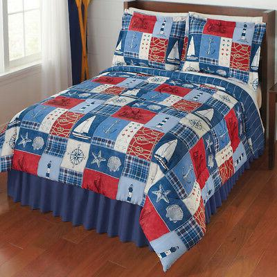 Reversible Nautical Patchwork Comforter Set Collections
