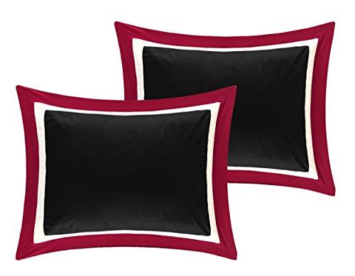 Chic Home Piece Comforter Block a Bag with Queen Black